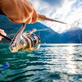 Woman fishing on Fishing rod spinning